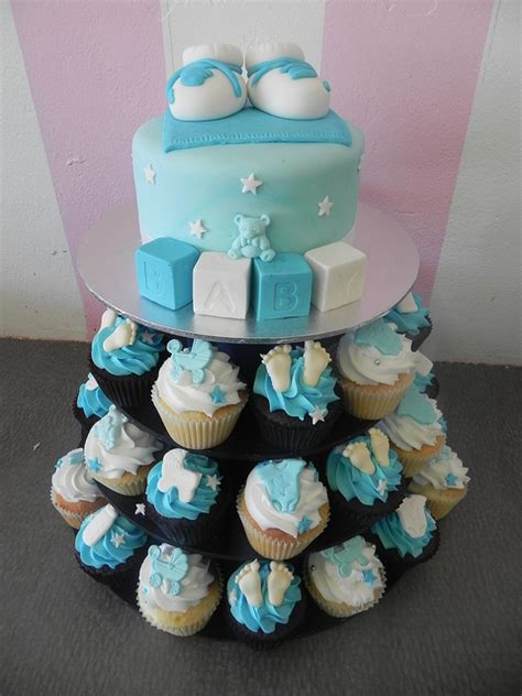 Baby Shower Themes For Boys 2012 by Baby Boy Shower Cupcake Cake