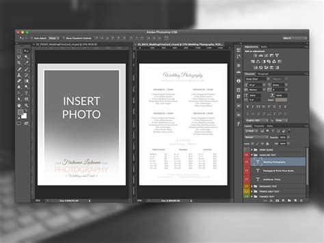 5 x 7 card template psd photoshop wedding photographer pricing guide price sheet list 5x7