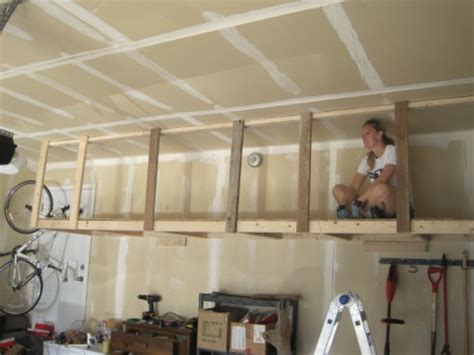 How To Make Hanging Garage Shelves by Overhead Hanging Storage
