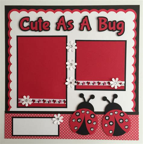 Handmade Scrapbook Pages - handmade premade 12 quot x12 quot quot as a bug quot ladybug