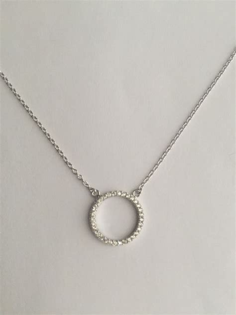 925 sterling silver cz circle of white crystals