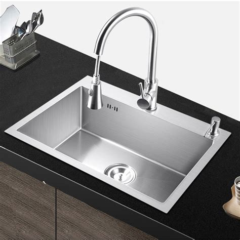 Above Counter Kitchen Sinks Pia Kitchen Sink Single Bowl Above Counter Or Udermount Installation Handmade Brushed Seamless