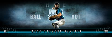 Panoramic Sports Team Banner Photo Template Fantasy Baseball Layered Photoshop Sports Template Layered Photoshop Sports Templates
