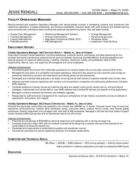 facilities manager resume sle facilities manager resume facilities manager resume sle