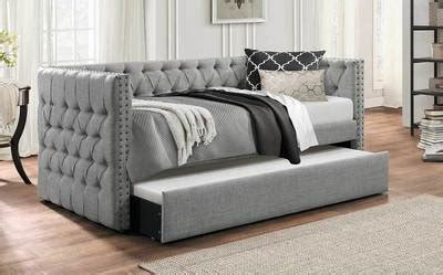 idealbed everest button tufted upholstered daybed  trundle dealbedscom