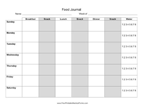 printable daily food intake journal 8 best images of food intake journal printable printable