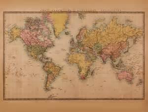 World Wall Map Mural mural weltkarte vintage 2 sepia walldesign56