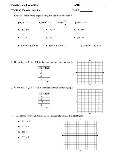 Algebra 1 Function Notation Worksheet Answers by 12 Best Images Of Function Notation Algebra Worksheets