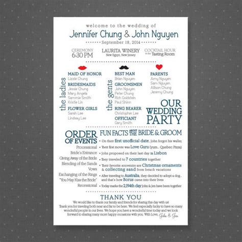 Wedding Facts by Facts Wedding Program Printable Facts Facts