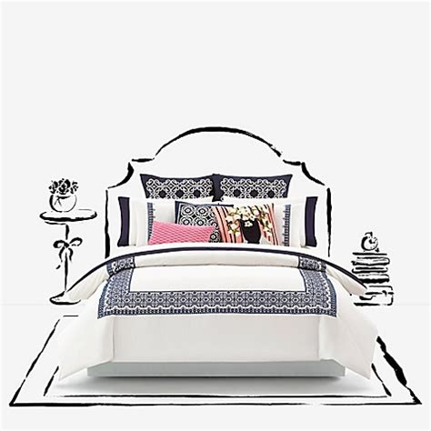 Kate Spade Tanden Bed buy kate spade new york folk duvet cover in navy from bed bath beyond