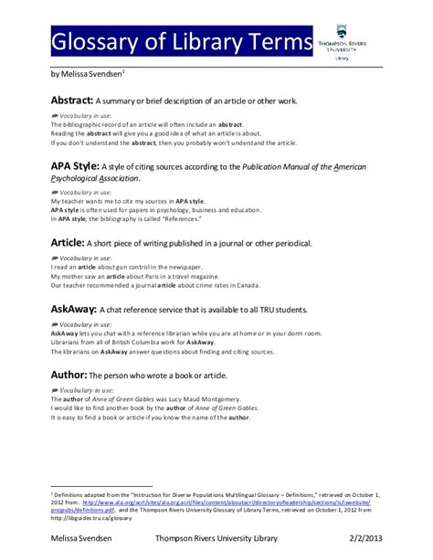 apa format definition glossary of library terms for esal students