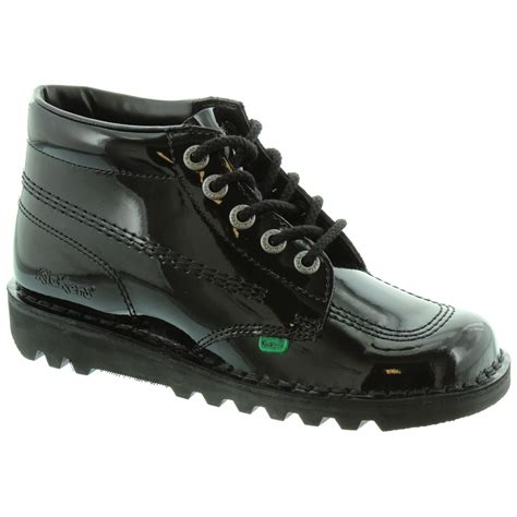 Kickers Pantofel Lather Original 02 kickers leather kick hi lace boot in black patent in black patent