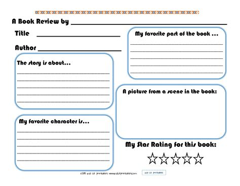 book report template elementary 7 best images of printable elementary book report forms