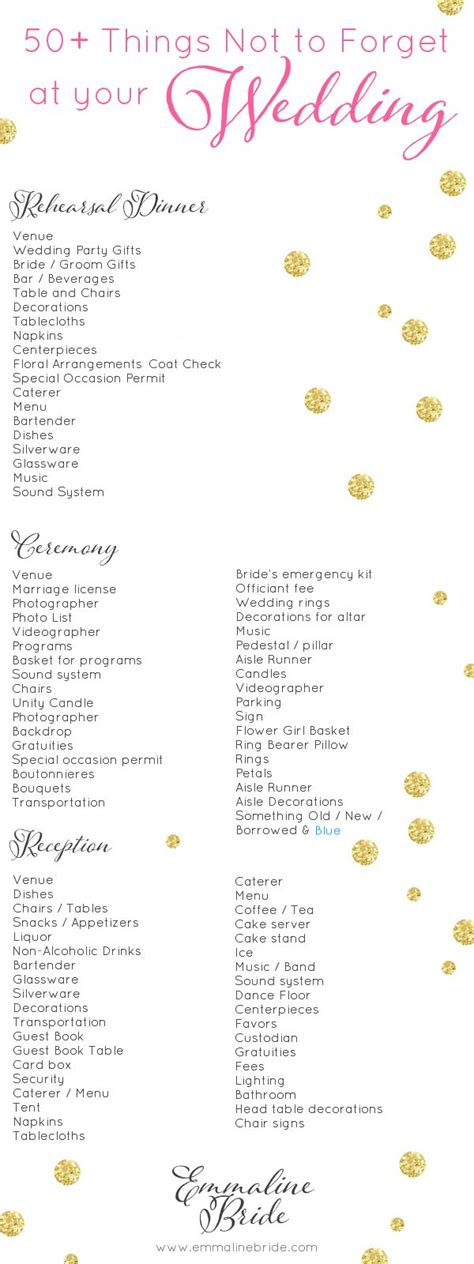 Wedding Checklist Details by Wedding Checklist Things Not To Forget At Your Wedding