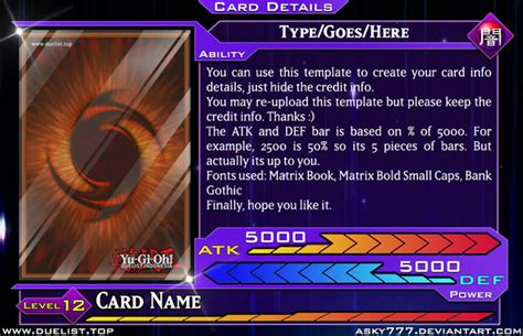 yugioh anime style card template yu gi oh style card info template by asky777 on