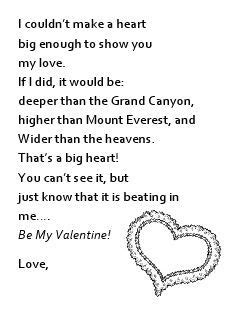 valentines message for parents poems for poem printable kid