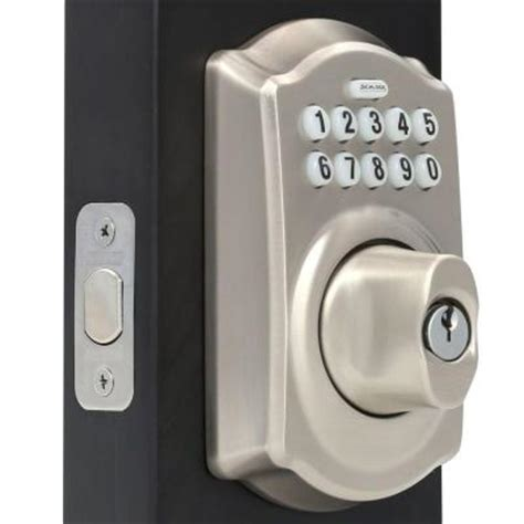 Schlage Door Keypad Change Code by Schlage Camelot Satin Nickel Keypad Deadbolt Be365 619