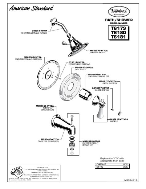 american standard bathtub parts american standard outdoor shower t6181 user s guide manualsonline com