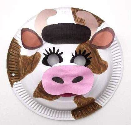 How To Make Animal Mask With Paper Plate - paper plate cow mask theatre class cow