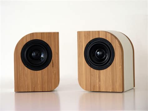 speaker designs serene audio the pebble passive speakers exterior made out of bamboo and leather 395