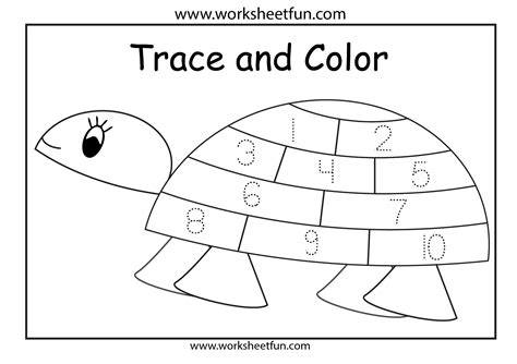 Tracing Numbers 1 10 Worksheets Kindergarten by Free Tracing Numbers 1 10 Coloring Pages