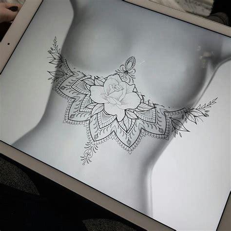 mandala tattoo under chest rose mandala sternum tattoo design tattoo inspiration