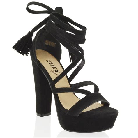 Heel Fashion Import Hf8254 womens platform block high heel tie lace up ankle strappy shoes 3 8 ebay