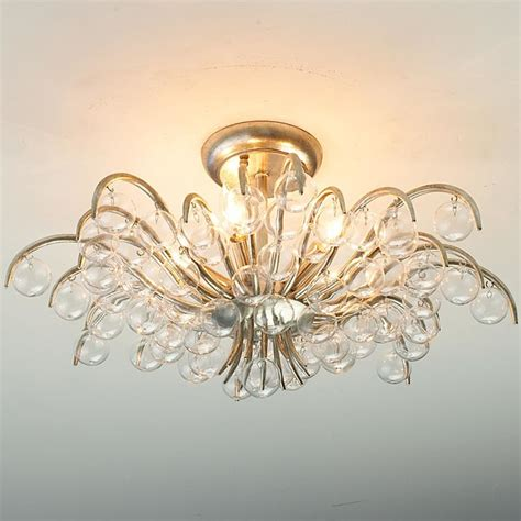 blown glass ornamental semi flush ceiling light flush