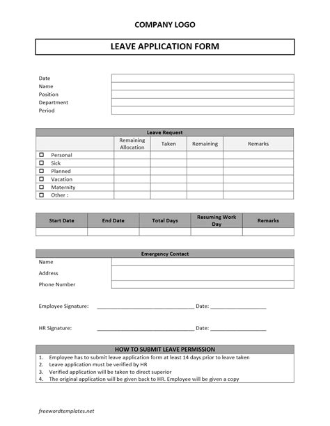 Leave Application Template leave application form