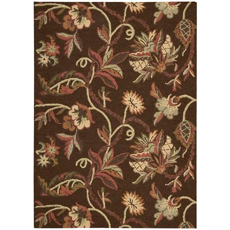 home depot wool area rugs nourison crochet chocolate 5 ft x 7 ft wool area rug 122933 the home depot