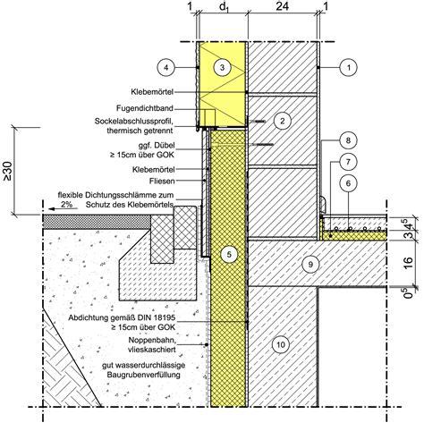 unterkellerte terrasse aufbau detailseite planungsatlas hochbau au 223 enwand mit