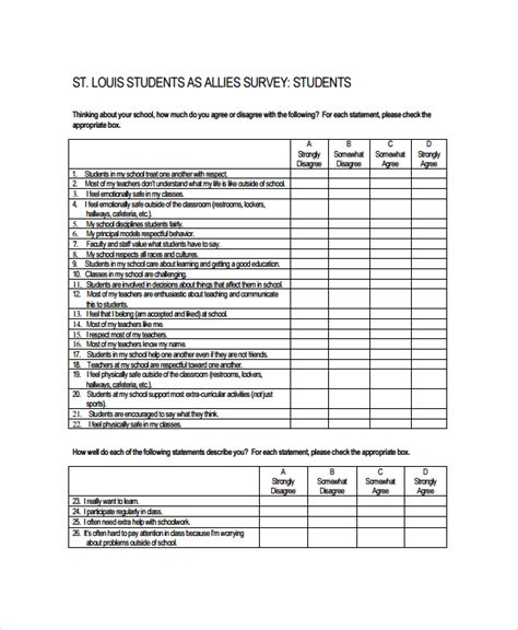 form survey template sle survey form template 9 free documents