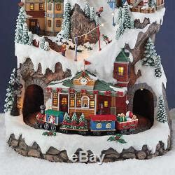 holiday memories lighted village and train music box new 2017 20 winter ski light up