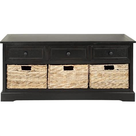 Black Storage Unit With Drawers Safavieh Bud 3 Drawer Storage Unit In Black Amh5701b