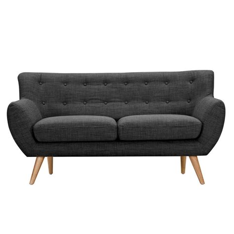 loveseat tufted ida modern dark grey button tufted upholstered loveseat w