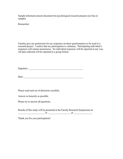 sample informed consent document  psychological research