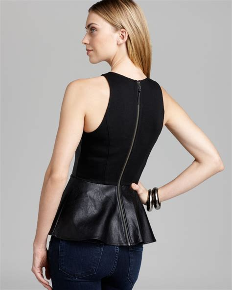 Guess Sprint Black Leather guess top faux leather peplum in black lyst