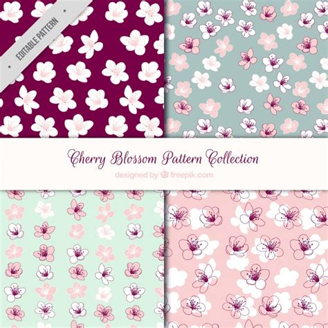 sakura pattern ai pack of four cherry blossom patterns vector free download