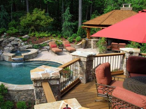 Decks And Patios This Deck With Stone Pillars Overlo Patio Deck Designs