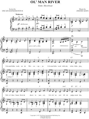 boat on the river chords ol man river from show boat musical sheet music in autos