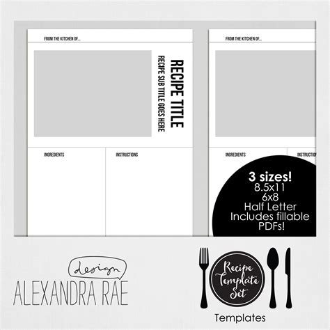 recipe layout template recipe template set templates only