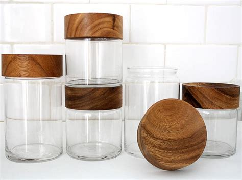 glass canisters for kitchen fancy wood glass canisters chabatree