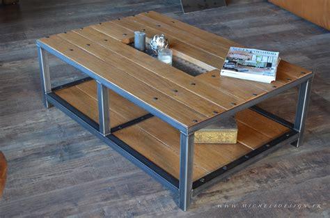 Table De Salon Industrielle 1237 by Table De Salon Bois Et M 233 Tal Industriel Sur Mesure