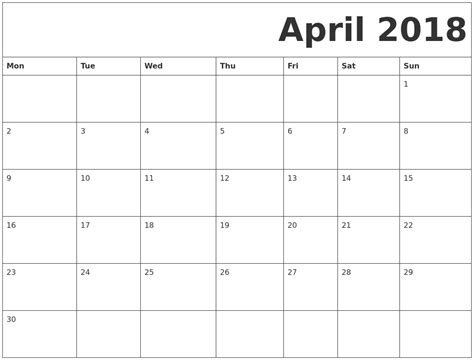 printable free calendar 2018 april 2018 free printable calendar