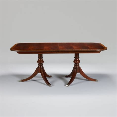 double pedestal dining room table newport banded double pedestal table traditional