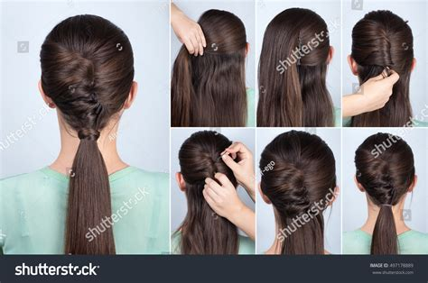step by step hairstyles for long hair with bangs and curls simple hairstyle ponytail twist hair tutorial stock photo