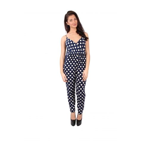 cream patterned jumpsuit may navy blue spaghetti strap jumpsuit cream heart print