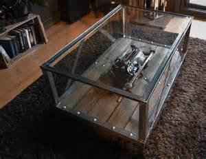 table basse metal bois verre esprit industriel meubles