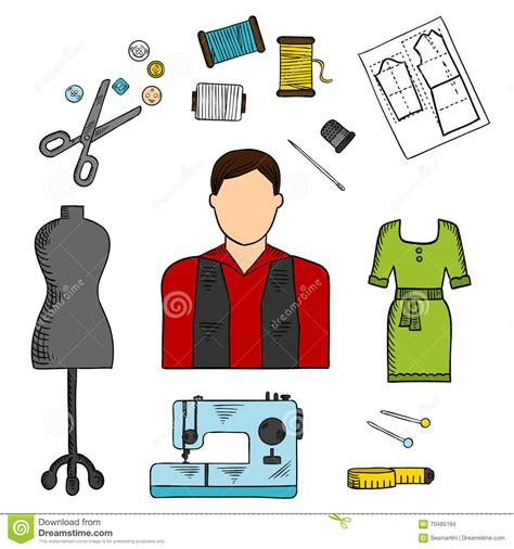 fashion designer with sewing tools colored sketch stock