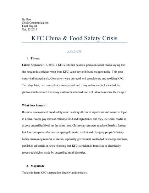 Kfc Study Essay by Crisis Communication Kfc China